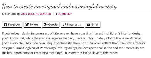 Article written by Australian blogger 'Interiors Addict' on how to create an original and meaningful nursery