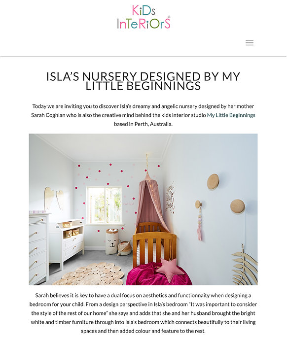 Article by 'Kids Interiors' about our styling project 'Toddler Wonderland' for a little girls nursery in North Perth