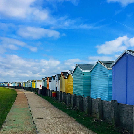 Lancing Beach. Pastel beach huts. The Perch cafe. Playground. Free family day out. Child friendly walking.