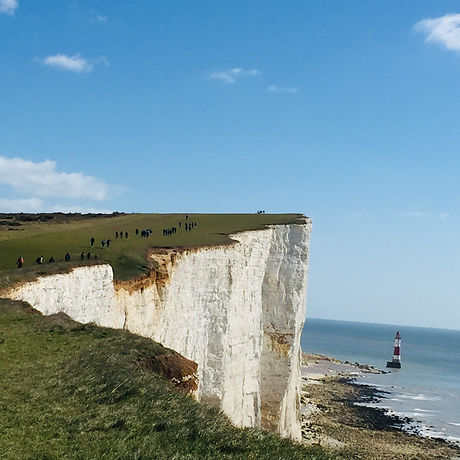 Free family adventure near Eastbourne Sussex. Lighthouse. White Cliffs walk for children and disabled