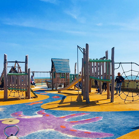 Seafront playground for children. Bognor. Sand. Free fun with the kids.
