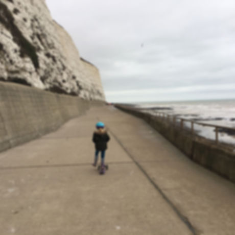 Scooting paradise for kids. Free fun for children and families Brighton. Wheelchairs, bikes, pushchairs. Undercliff path.