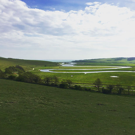 Free family day out near Eastbourne Sussex. Country park walk suitable for pushchairs, wheelchairs and scooters. River, beach, cliffs