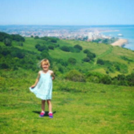 South Downs Way. Chalk downland. Free family fun. Coastal walk with children.
