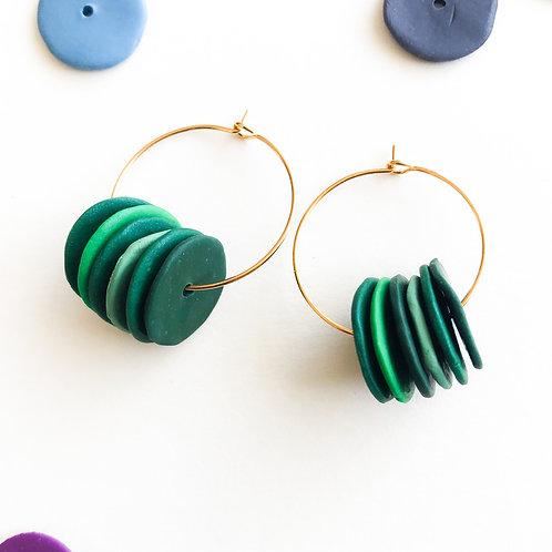 discs hoops green shaded green polymer clay biscay handmade gold hoops aqua green dark green emerald pistachio handcrafted
