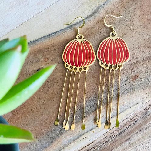 chinese lanterns jellyfish orange dangly danglers earrings evening wear party lightweight classy dressy jewelry handmade gift