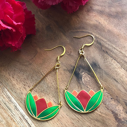 water lilles lotus red orange green pretty unique handmade gift present peace calm jewelry earrings party evening