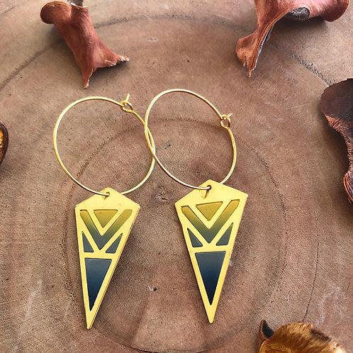 flying kite yellow grey hoop danglers drop earrings light pointy triangular jewelry handmade unique different fun diamond