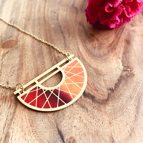 helios sum semi circle orange red maroon fall colors warm pendant long chunky big circle spokes