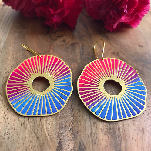 blue pink purple ombre wheel spokes danglers chunky big bright statement present gift for her bold beautiful