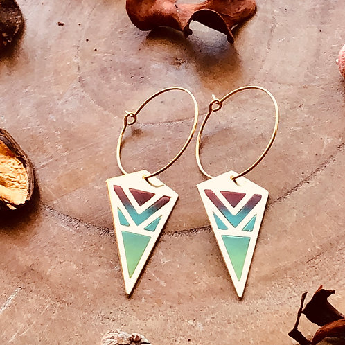 flying kits pastels hoop danglers drop earrings light pointed triangular jewelry handmade unique different fun see through
