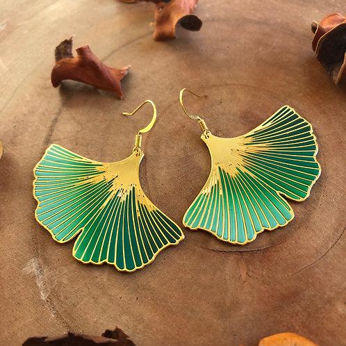 Green ginkgo leaf earrings Japanese ginko symbol