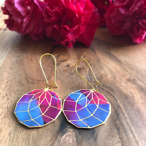 disco ball round circle geometric sphere blue pink purple shaded disc earrings jewelry light fun statement sober gifting