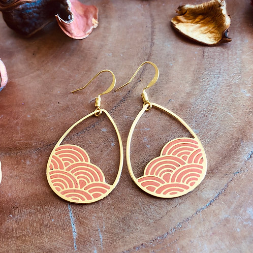 orange dew drops teardrop cloud geometric pattern small cute dainty earrings light fun wear gift present anniversary day