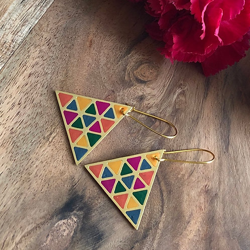 infinity triangles geometric abstract design handmade jewelry unique gift birthday pendant earrings multicolor complimentary