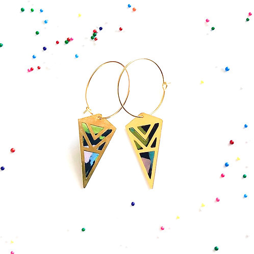 mint chip ice cream cookie themed earrings diamond kite earrings on a hoop perfect fun gift for a friend birthday thank you
