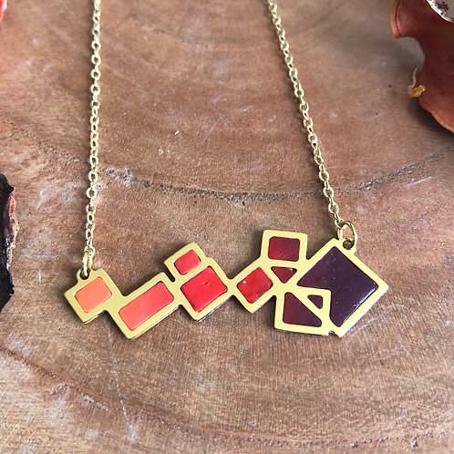 square maze mix of squares geometric pendant red maroon orange fall colors colored lots of squares