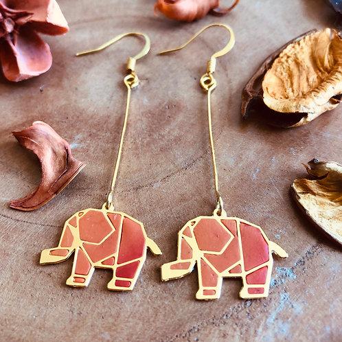 elephant cute orange danglers earrings pet parents animal lovers jewelry rust fun