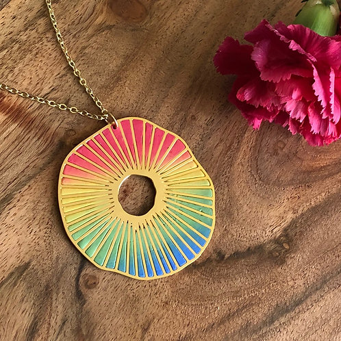 rainbow wheel of life colorful multi colored wheel circle round spokes shaded ombre handcrafted clay metal pendant jewelry