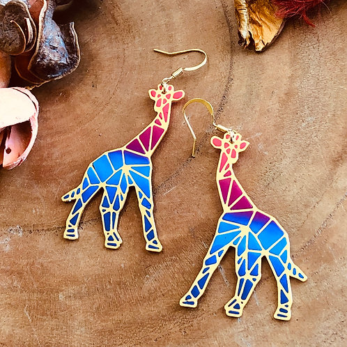 Giraffe pink blue purple bright color handmade handcrafted lightweight animal love pet parents animal lover earrings jewelry