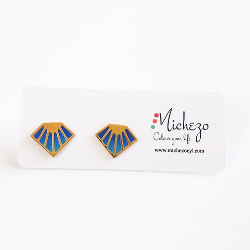 Blue diamond shaped tiny studs perfect for office or casual outings. Cute little gift for a loved one