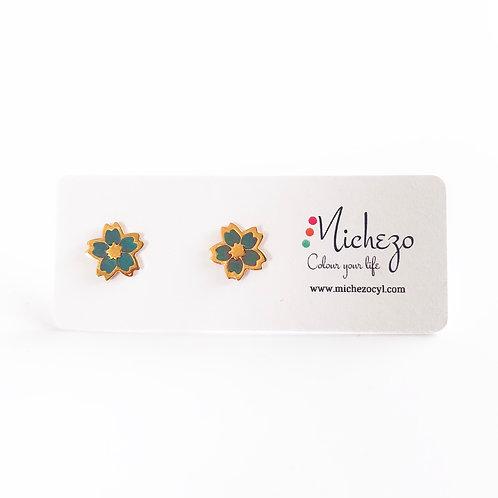 Summer vibes cherry blossom jewelry. Studs. Japanese cute studs. Grey studs. monotone jewelry lightweight