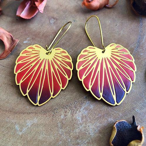 Red orange maroon money plant monstera leaf floral jewelry earrings