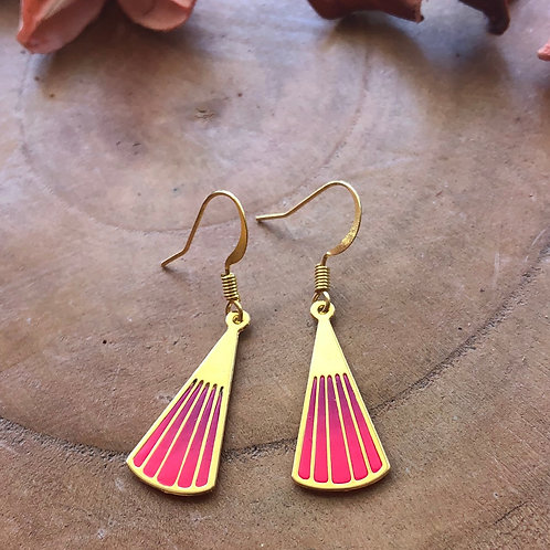 small tiny fan pink hot pink handfan chinese japanese fan folding fan paper fan metal clay handcrafted jewelry earrings