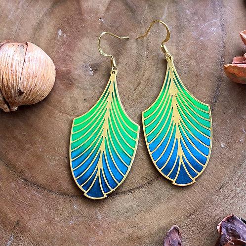 Green blue Egyptian, art deco fan pattern earrings geometric jewelry