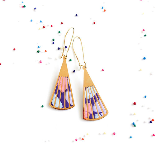 Japanese fans purple cotton candy themed candy collection earrings birthday gifts fun jewelry
