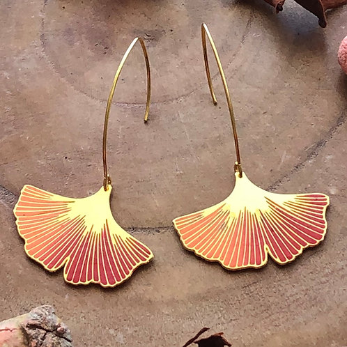 ginkgo ginko orange red fall colors warm hues flower floral drop earrings jewelry gift best unique present birthday thankyou