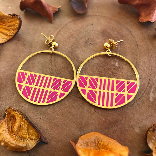 globe trotter travel jewelry earrings geometric circle round spherical sphere pink clay metal filled danglers