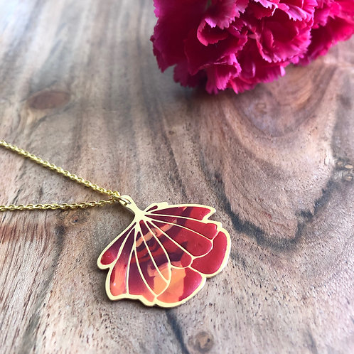 red orange maroon fall colors ombre gift birthday thankyou anniversary pendant flower California poppy floral unique present