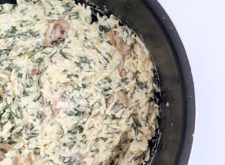 One-Pot Creamy Mushroom & Spinach Rice (Non-Dairy!)