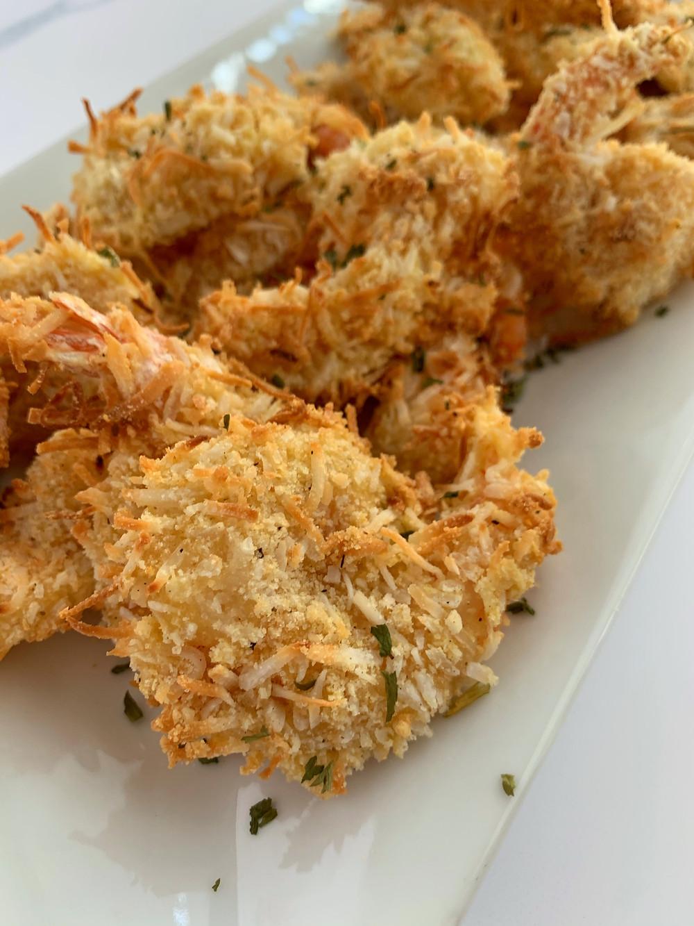 closeup shot of green goddess shrimp salad with a bite of food on a fork