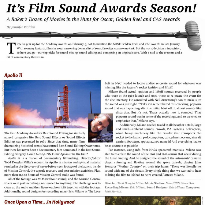 Two (yes 2!) separate publications have now predicted that Eric will receive a 2020 SOUND OSCAR nomi