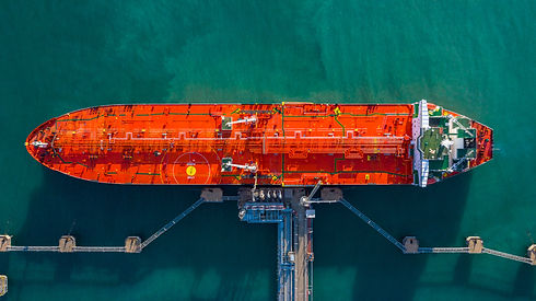 Aerial view tanker ship unloading at por