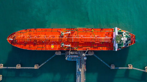 Aerial view tanker ship unloading at por
