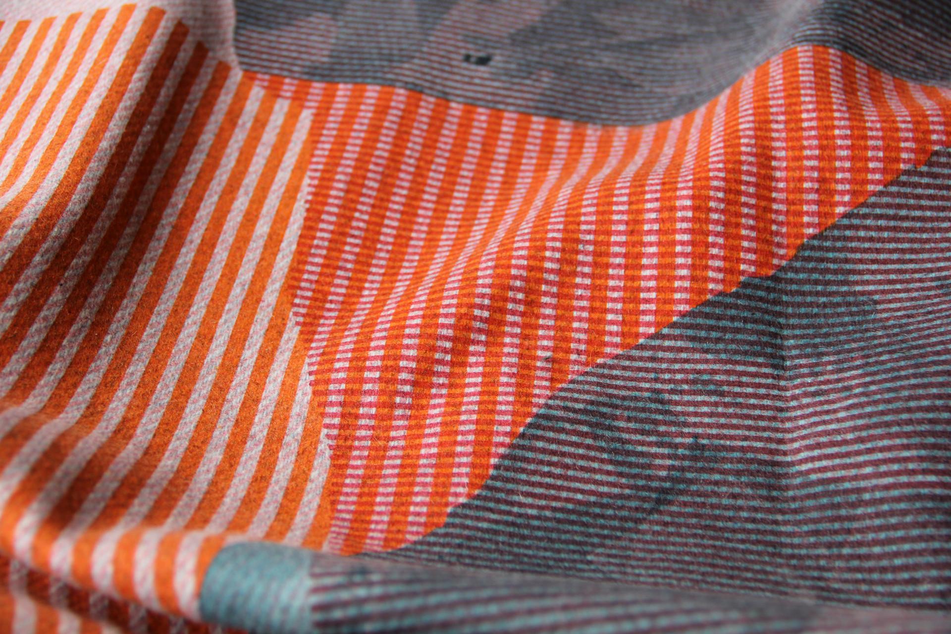 screen printed on wool