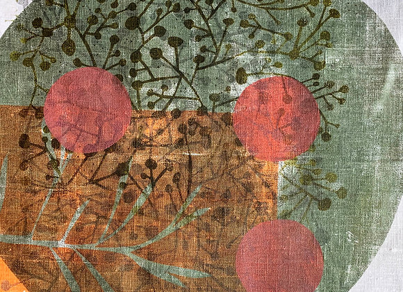Multiprint Square - Imperfect circles green and pink