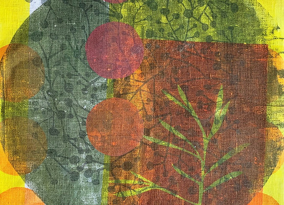 Multiprint Square - Imperfect circles green and pink and yellow