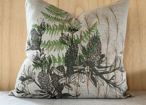 Cushion. Banksia twig cushion on raw linen