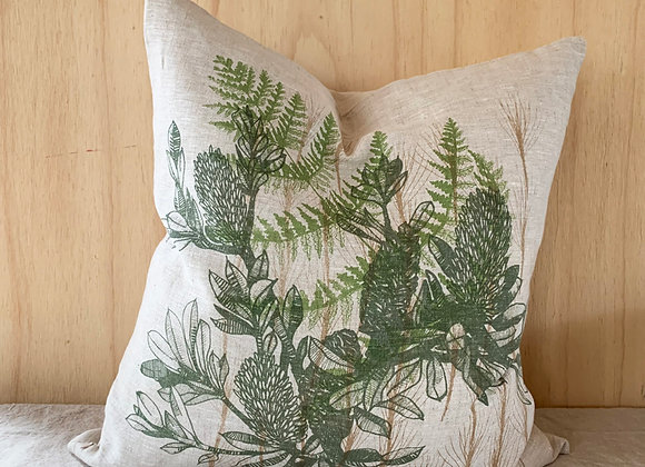Banksia twig cushion on stone linen