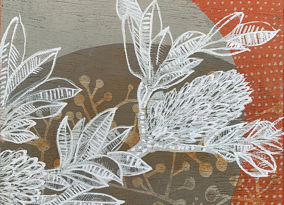 Artwork on wood. Banksia Top Right