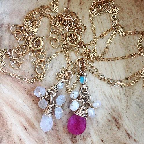 Halskette mit Mondstein & pink Jade