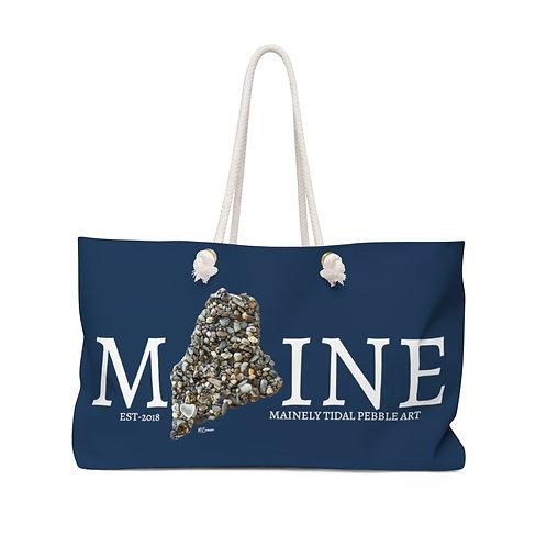 Maine Pebble Art Weekender Bag, Boat Bag, Beach Bag Navy/White