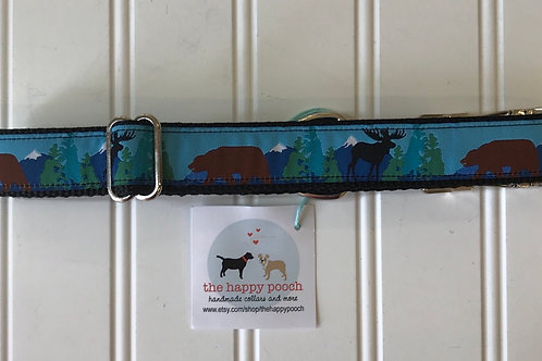 Dog Collar, Large - Moose/Bear/Mountains