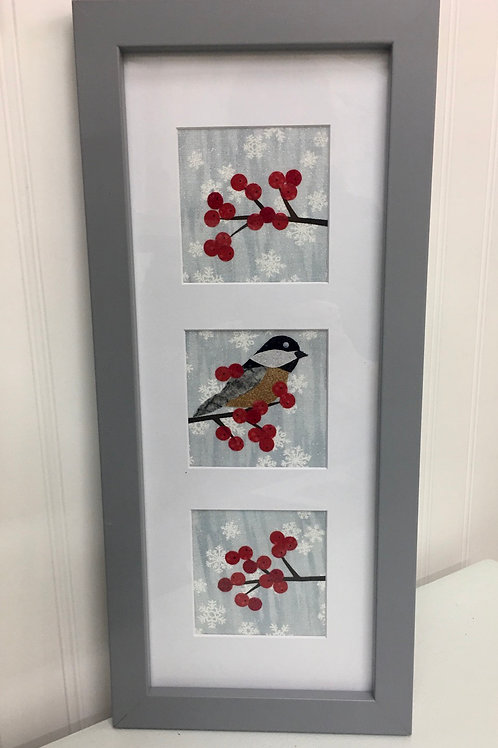 Maine Chickadee with Berries Fabric Collage