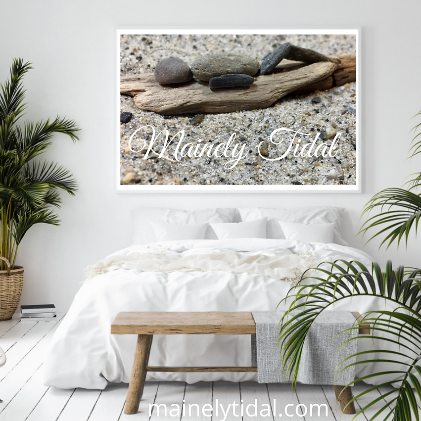 Mainely Tidal Art created with sand, driftwood and rocks, pebbles found on the Coast of Maine.