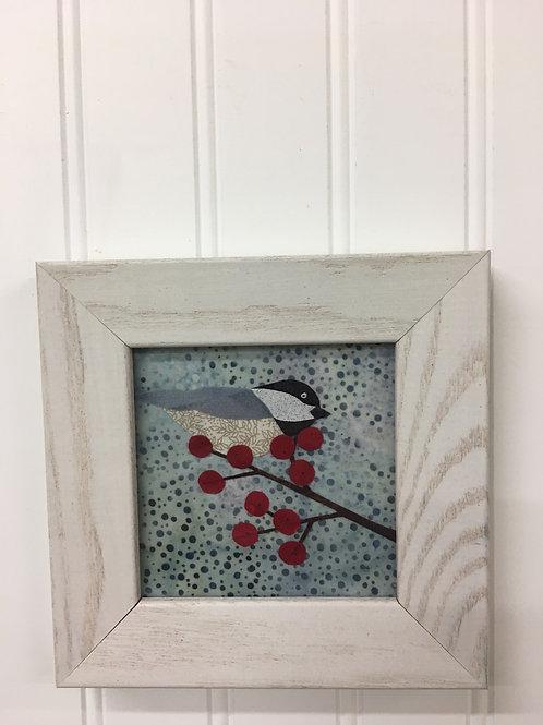 Maine Chickadee Fabric Collage